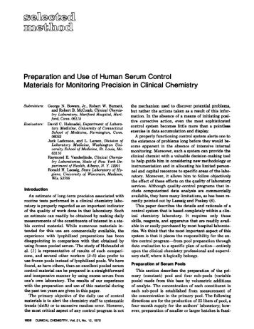 Preparation and Use of Human Serum Control ... - Clinical Chemistry