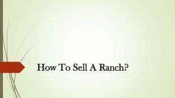 HOW TO SELL A RANCH
