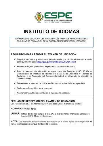 Comunicado Examen Inglés