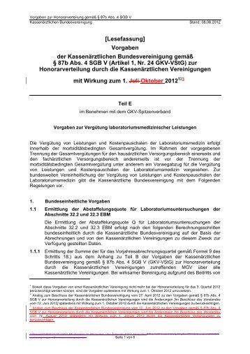 KBV-Vorgaben 08.08.2012 - Teil E (Lesefassung) - Kassenärztliche ...
