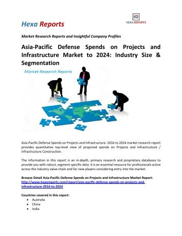 Asia-Pacific Defense Spends on Projects and Infrastructure Market to 2024 Industry Size & Segmentation