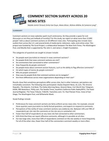 COMMENT SECTION SURVEY ACROSS 20 NEWS SITES