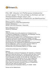POL-MR: Attacke mit Pfefferspray;Unbekannter uriniert ... - Firmendb