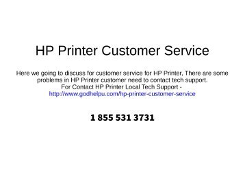 HP Printer Customer Service Phone Number : 1 855 531 3731