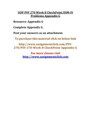 UOP PSY 270 Week 8 CheckPoint DSM-IV Problems Appendix G