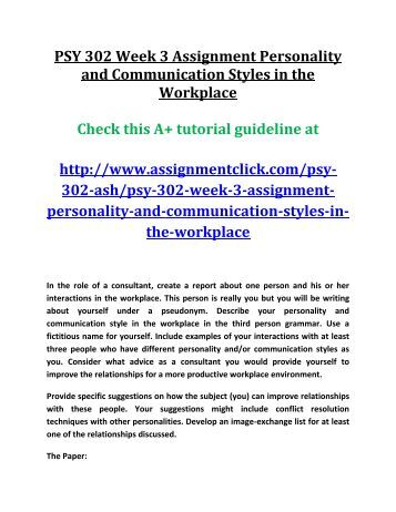 psy 302 week 3 dq 1 Psy 302 302 smith  psy 302 week 1 assingment 2 pages  rev week 3 dq 1 leadership 7 pages rev week 1 individual assignment self confidence.