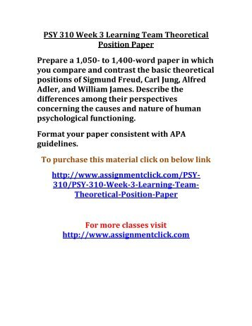 paper freud jung psy 310 theoretical position