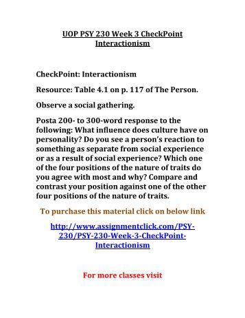psy 230 checkpoint interactionism Psy 230 uop course,psy 230 uop materials,psy 230 uop homework .