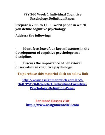 cognitive psychology definition paper