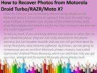 How to Recover Photos from Motorola Droid Turbo RAZR Moto X