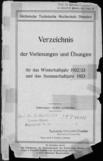 Verzeichnis der Vorlesungen und Übungen Wintersemester 1922/23, Sommersemester 1923
