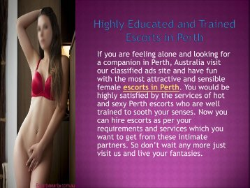 Highly Educated and Trained Escorts in Perth