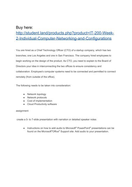 IT 200 Week 2 Individual Computer Networking and Configurations