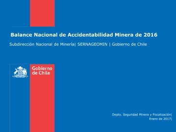 Balance Nacional de Accidentabilidad Minera de 2016