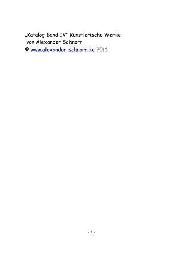 """""""Katalog Band IV"""" Künstlerische Werke von Alexander Schnorr ..."""
