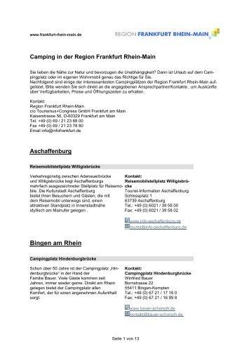 Campingplaetze FRM - Region Frankfurt Rhein Main