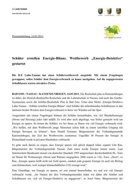 Energie-Detektive - ILE   Region Lahn-Taunus