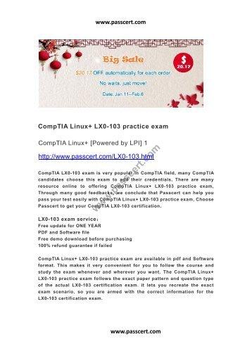 CompTIA Linux+ LX0-103 practice exam