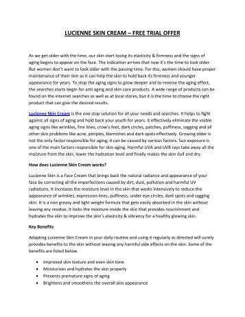 Lucienne Skin Cream - Free Trial Offer