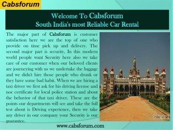 Bangalore to Chennai Car Rentals