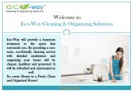 Eco Friendly House Cleaning Service|Eco-Way Cleaning & Organizing Solutions