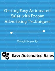 Getting Easy Automated Sales with Proper Advertising Techniques