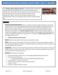 WINDOWS SPLUNK LOGGING CHEAT SHEET - Win 7 - Win2012