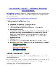 FB Continuity Profits Review-(FREE) $32,000 Bonus & Discount