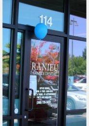 Signage on glass door at Ranieu Family Dental