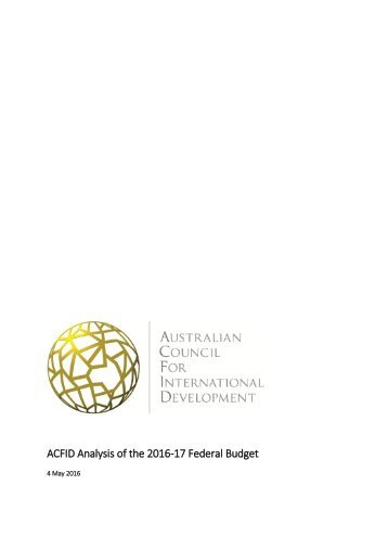 ACFID Analysis of the 2016-17 Federal Budget