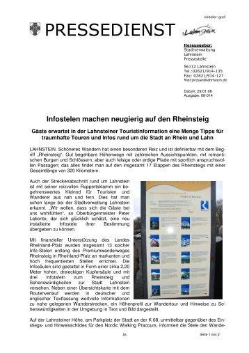Infostelen machen neugierig auf den Rheinsteig
