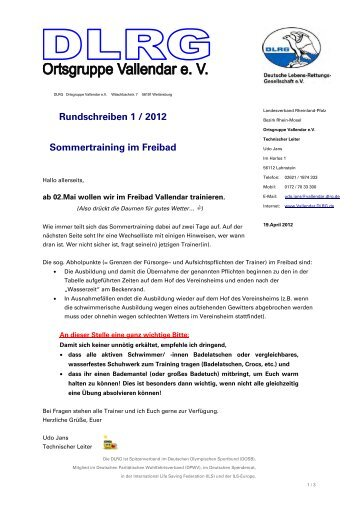 Bahneinteilung Sommer-Training - DLRG Vallendar e.V.