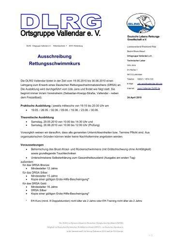 Ausschreibung Rettungsschwimmkurs - DLRG Vallendar e.V.