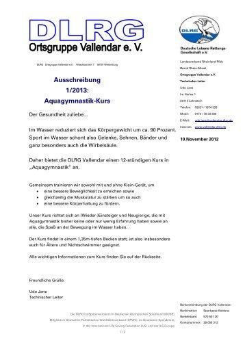 Ausschreibung 1/2013: Aquagymnastik Kurs - DLRG Vallendar e.V.