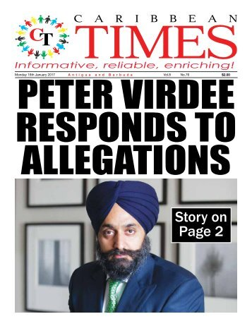 Caribbean Times 76th Issue - Monday 16th January 2017