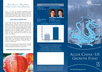 ALGER CHINA-US GROWTH FUND Der Drache - Noramco