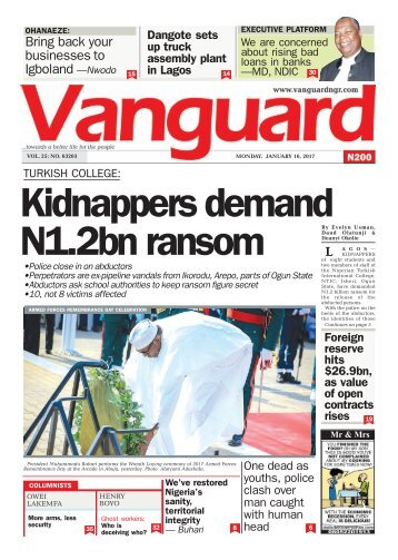16012016 TURKISH COLLEGE: Kidnappers demand N1.2bn ransom