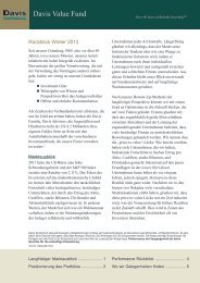 Davis Value Fund - Newsletter Winter 2012 - Noramco