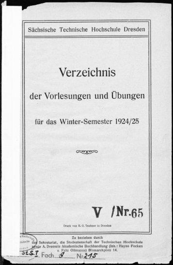 Verzeichnis der Vorlesungen und Übungen für das Winter-Semester 1924/25
