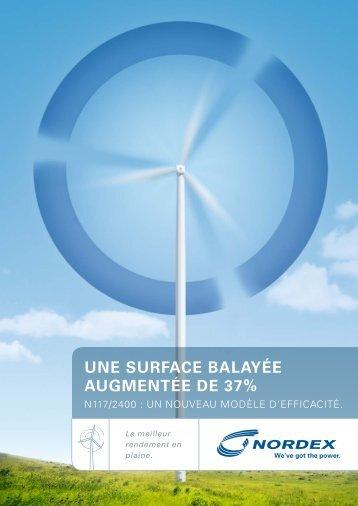 UNE SURFACE BALAYÉE AUGMENTÉE DE 37% - Nordex