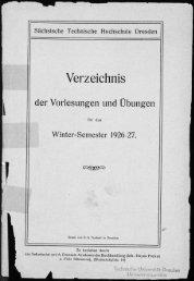 Verzeichnis der Vorlesungen und Übungen für das Winter-Semester 1926/27