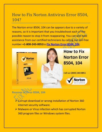 18002430051 How to fix Norton error 8504, 104?