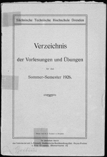 Verzeichnis der Vorlesungen und Übungen für das Sommer-Semester 1926