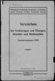 Verzeichnis der Vorlesungen und Übungen, Stunden- und Studienpläne Sommersemester 1930
