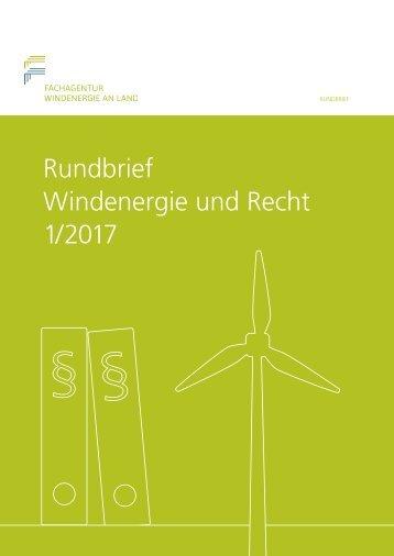 Rundbrief Windenergie und Recht 1/2017
