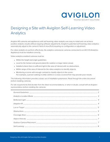 Designing a Site with Avigilon Self-Learning Video Analytics