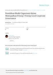 Pemilihan Model Organisasi dalam Mewujudkan Prinsip-prinsip Good Corporate Governance