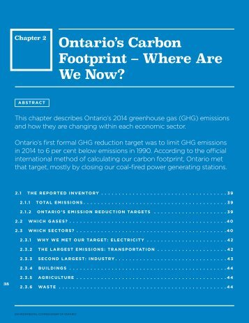 Ontario's Carbon Footprint – Where Are We Now?