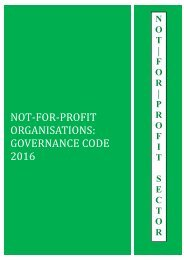 NOT-FOR-PROFIT ORGANISATIONS GOVERNANCE CODE 2016