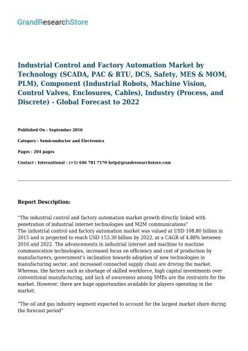 Industrial Control and Factory Automation Market-Global Forecast to 2022